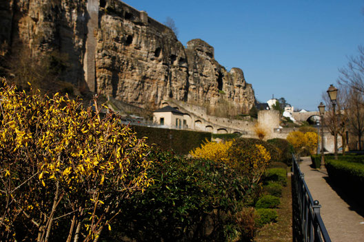 Luxembourg city, cliffs, stone walls, gorge
