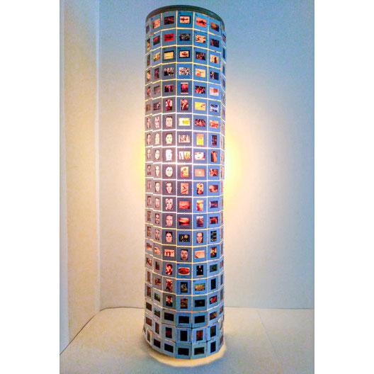 lampe upcycling fait à partir de diapositive du collèges André-Grasset de Montréal