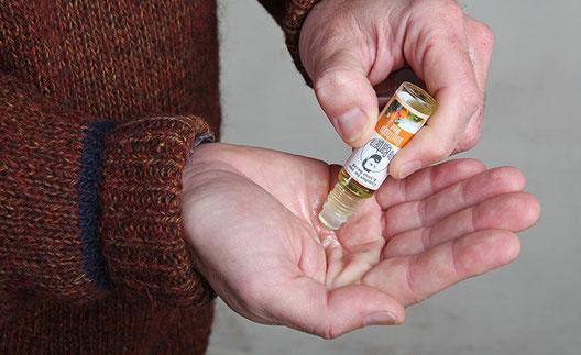 Aplicación extra aceite en la palma