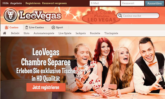 LeoVegas Spiele Lobby