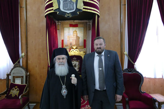 Встреча главы NGO Public Advocacy Денисова О.С. с Патриархом Иерусалимским Феофилом III