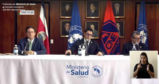 Print screen of the Minister of Health's daily press conference April 15, 2020