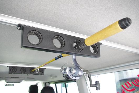 ネッツ静浜ASKのディーラーカスタムショップが提案するハイエース用のロッドホルダーです。