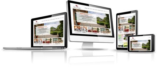 Website sichtbar in unterschiedlichen Endgeraeten: Laptop, Desktop, Tablet und Smartphone