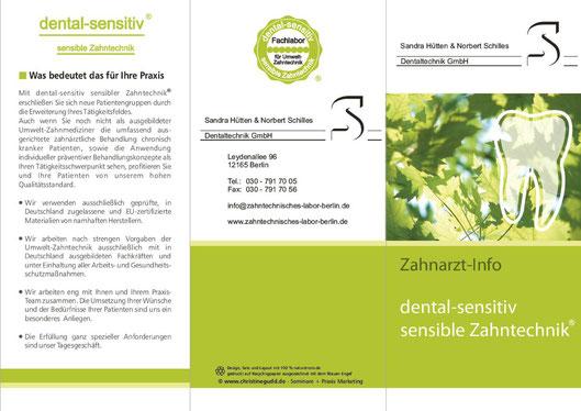 sensible Zahntechnik norbert schilles Zahnarzt Info Flyer vorne