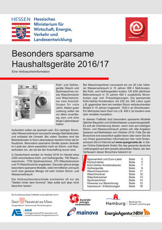 Broschüre HESA Sparsame Hausghaltsgeräte