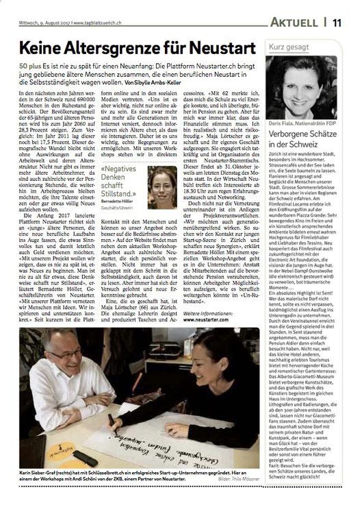Tagblatt, Medienbericht schlüsselbrett, Alu Designleiste, Design Award, genial einfach, multifunktional, Ordnungswunder, Designfilz, Garderobe, Küche, Bad