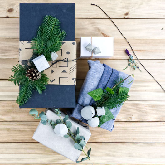 Christmas Gift Wrapping Ideas By PASiNGA With Evergreens And Geometric Concrete Ornaments