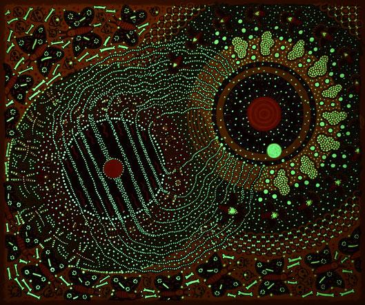 """Anja Mattenklott. """"Erde und Himmel"""", Nachtansicht, 2019, 60 cm x 50 cm, Gouache, Pigment, Graphit, Nachtleutfarbe auf Karton"""