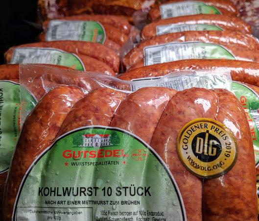 Mit guter Kohlwurst von der Firma Gutsedel und DLG Gold 2019 ausgezeichnet!