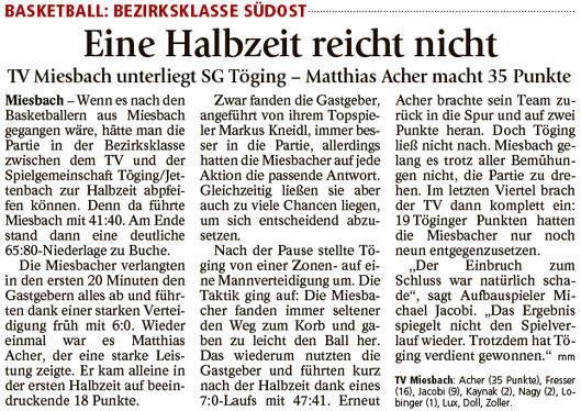 Bericht im Miesbacher Merkur am 24.1.2017 - Zum Vergrößern klicken
