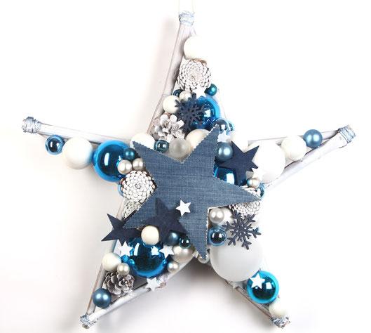 Großer Stern in blau-weiß mit Jeansstern