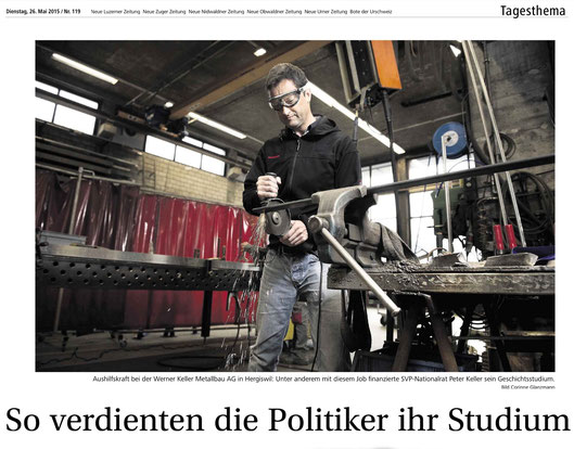 Artikel der NLZ zur Stipendien-Initiative (in der Werkstatt meines Bruders Metallbau Keller AG)