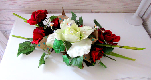 "Arrangement de table "" rose rouge et blanche """