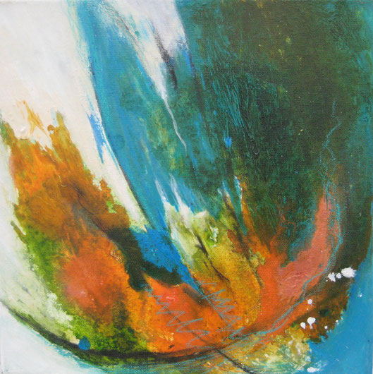 ohne Titel, 30 x 30 cm, Spachtelmasse, Acrylfarbe, Ölkreide