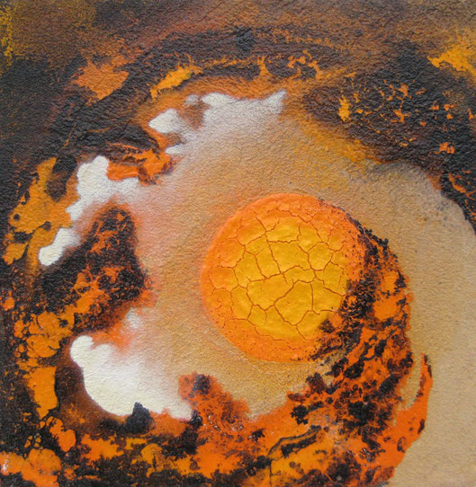 Aus der Reihe: Tanz auf dem Vulkan, 30 x 30 cm, Spachtelmasse, Acrylfarbe, Lackspray, Pigmente