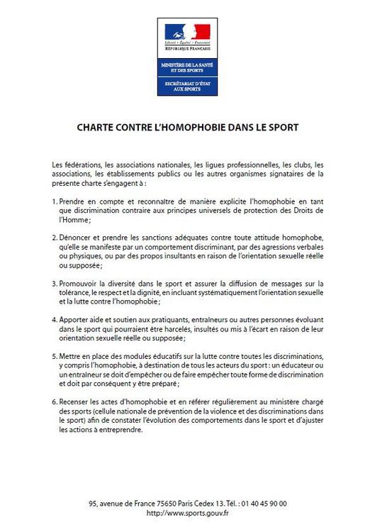 Charte contre l'homophobie dans le sport