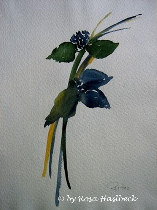 aquarell, blaue blume, blume, blau, grün,,, bild, handgemalt, gelb, kunst, bild, wanddekoration, dekoration, wandbild, art, malen, malerei, aquarell kaufen, kunst kaufen, bild kaufen