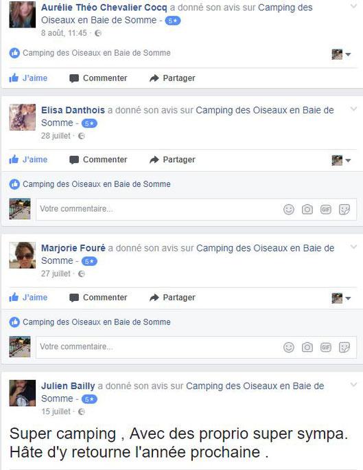 Avis facebook camping des oiseaux
