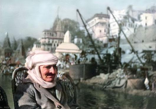 3. Meher Baba on a boatride on the Ganges River, Benares, Jan. 17, 1939