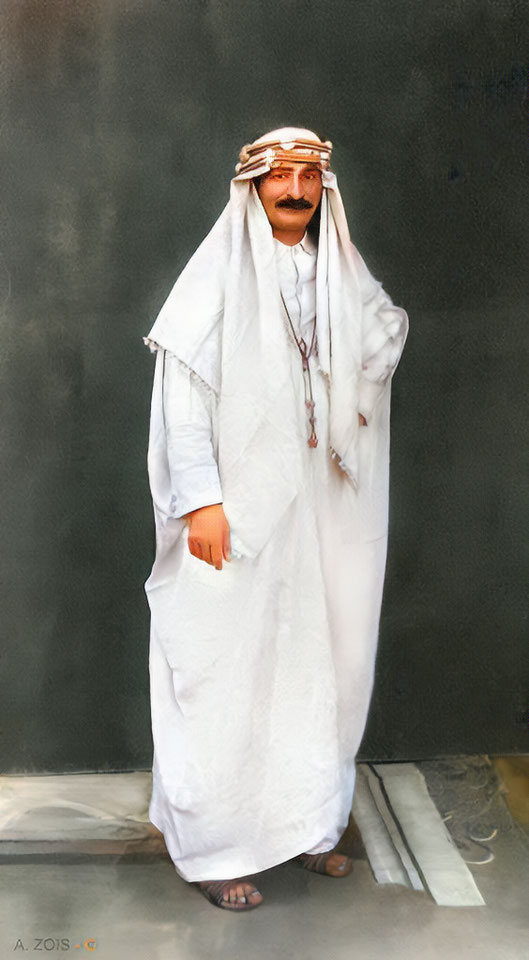 5B. Meher Baba wearing an Arab outfit given to him by the Jaffers from their trip to Mecca. Photographed in a studio in Nasik, India - 1936. Trimmed image