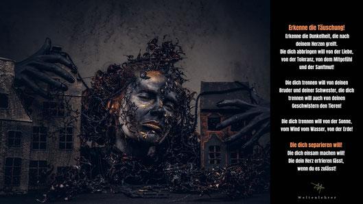 Erkenne die Täuschung!  Erkenne die Dunkelheit, die nach deinem Herzen greift. Die dich abbringen will von der Liebe, von der Toleranz, von dem Mitgefühl und der Sanftmut!  Die dich trennen will von deinen Bruder und deiner Schwester, die dich trennen wil