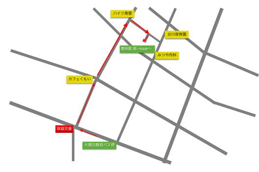 大陽日酸前バス停から整体屋 風〜kaze〜までの地図