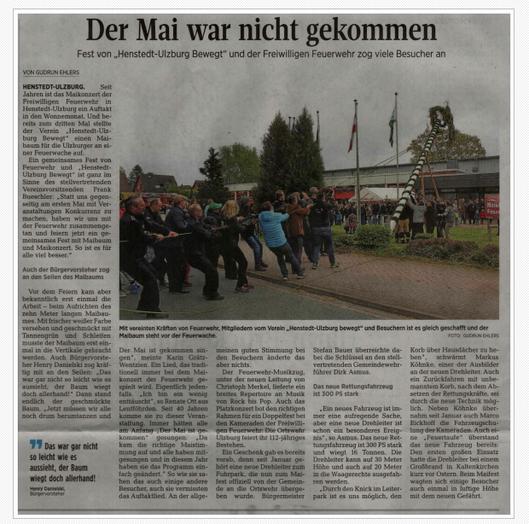 Artikel zum Maikonzert der Segeberger Zeitung