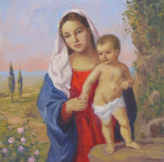 Tony Wahlander (Wåhlander) La vierge et l'enfant peint par Tony Wahlander dans un environnement provençal.