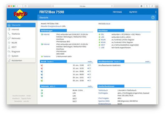 AVM Fritzbox Weboberfläche