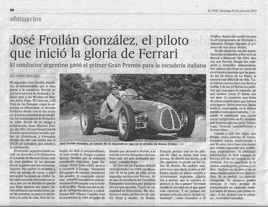 JOSÉ FROILAN GONZÁLEZ: El adios a uno de los grandes.