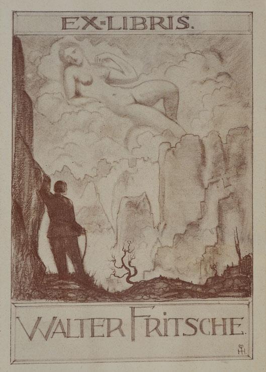 Exlibris von Walter Fritsche, Entwurf von Hanns Herzing