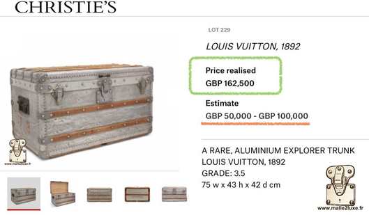 New record in Louis Vuitton aluminum trunk sales hall christie's