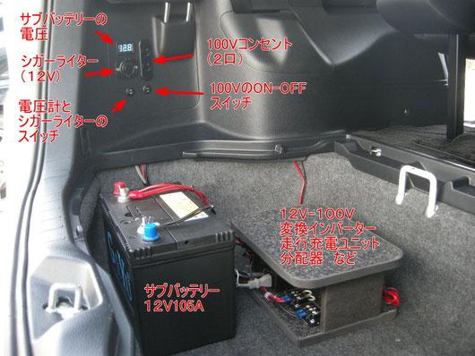 ヴォクシー ノア エスクワイア サブバッテリー 100V 電気 ベッド 車中泊 ペット トランポ