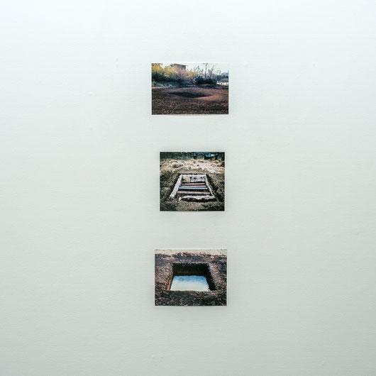 上から、榎倉康二《湿質》記録写真, B5, 1970、 高山登《ドラマ地下動物園2》 記録写真, B5, 1970、藤井博《波動B》記録写真, B5, 1970