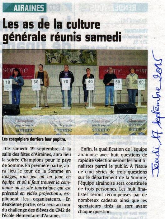 Soirée d'Airaines - Article du Courrier Picard - Septembre 2015