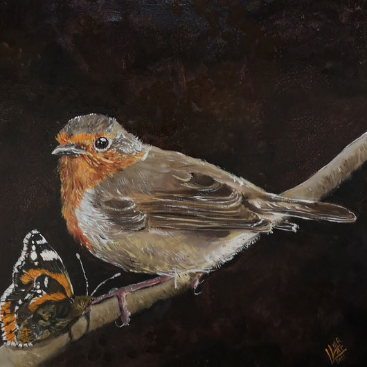 56. Robin and the butterfly 30x30cm verkocht