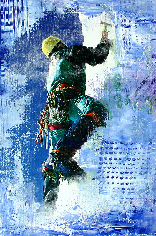 Bildausschnitt - Ice Climber Gemälde Painting - Eiskletterer Malerei - Ice Climber Malerei