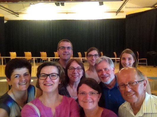 Probe mit den TGAlern Hermi, Helga, Hilda, Maria, Leo, Fritz und Franz sowie zwei Nichten von Johannes