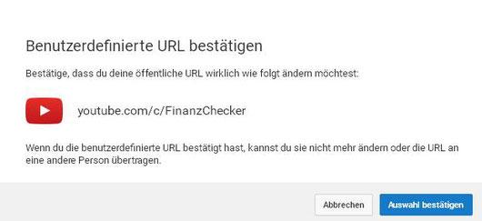 """Endlich ist es soweit: Wir haben bei unserem YouTube-Kanal mehr als 100 Follower und können nun den Namen """"FinanzChecker"""" beantragen (Screenshot vom 23.03.2017)!!!"""