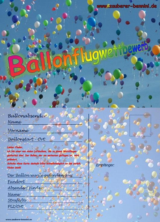 Karte für Ballonweitflugwettbewerb