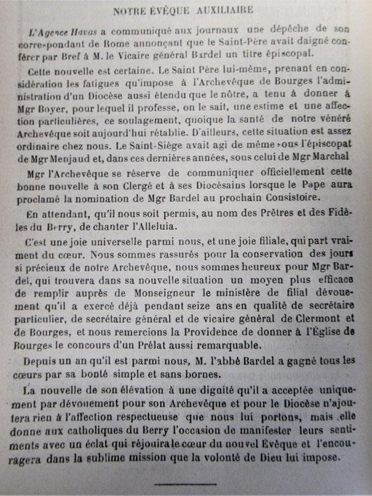 Source : Semaine Religieuse du Berry de 1894