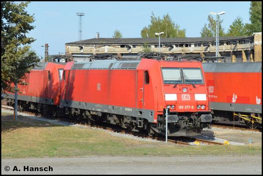 Als eine von mehreren Loks pausiert am 27. August 2016 185 377-9 in Leipzig-Engelsdorf Werkstätten