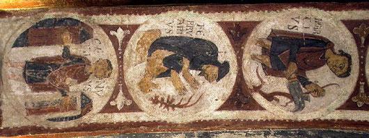 Calendario agrícola desarrollado en el intrados del arco del Panteón de Reyes de San Isidoro en León.SXI