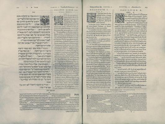 8 tomos impresos desde 1569-1573, los 4 primeros contienen el Antiguo Testamento, el V el NT, mientras que los 3 últimos versiones complementarias, diccionario y gramática.