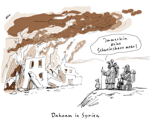 Cartoon von Mock zum Thema Flüchtlinge, Syrien, Heimkehrer