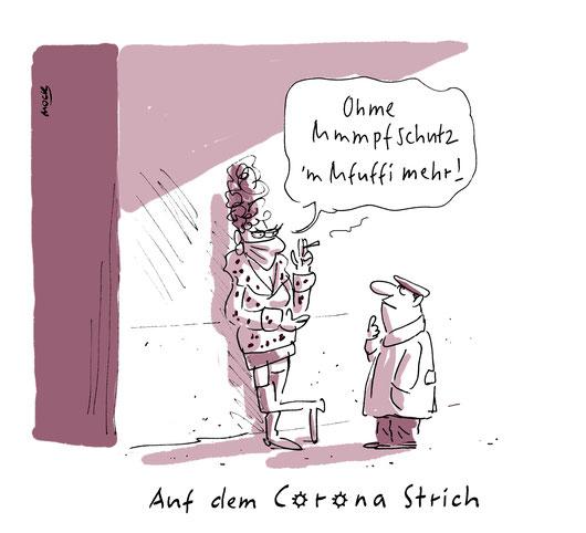 Cartoon zum Thema Corona  Pandemie Shutdown Prostitution Karikatur