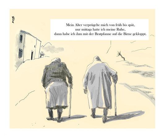 Cartoon von Mock zum Thema Häusliche Gewalt Alter Gender