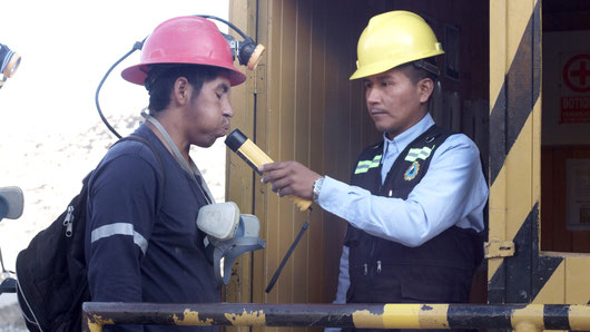 Obligatory alcohol test before underground work, small mining company SOTRAMI, Peru