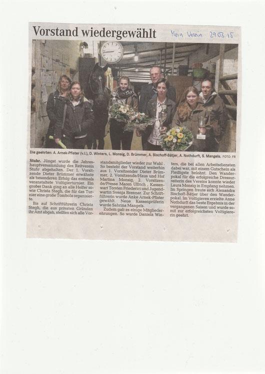 """Mitgliederversammlung, Artikel """"Mein Verein"""" 29.03.2015"""